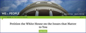 Screen capture from White House petition site at http://petitions.whitehouse.gov